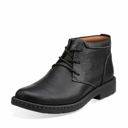 Clarks Men's Stratton Limit Black Leather Chukka Boot 261025