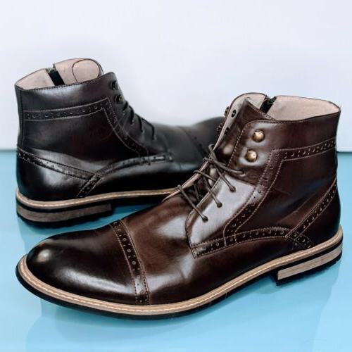 BRUNO MARC New York Men's Bergen Brown Leather Cap Derby Boots Shoes