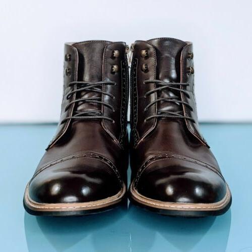 BRUNO MARC Men's 14 Bergen Brown Leather Cap Derby Boots