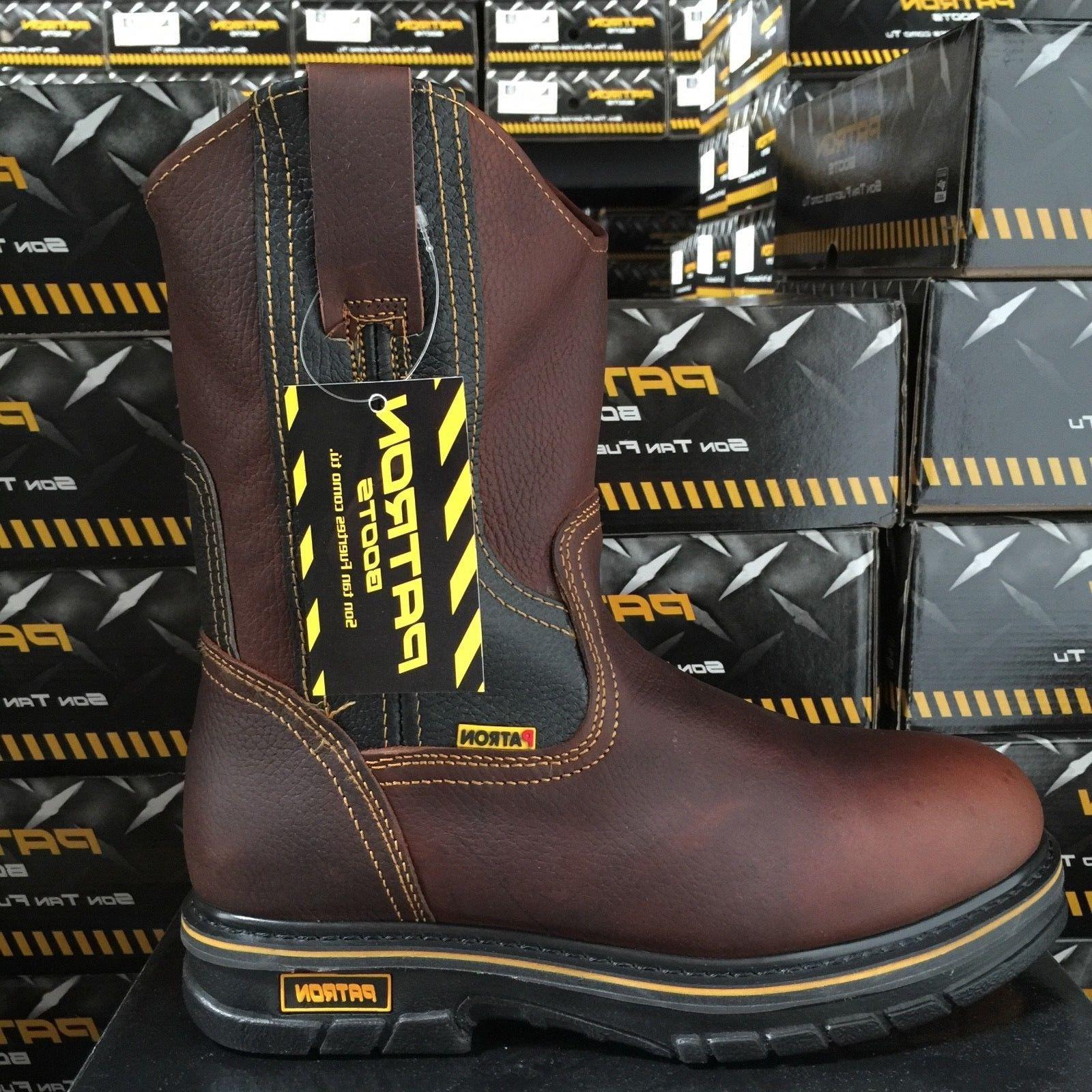 MEN'S LEATHER BROWN COLOR RESISTANT COWBOY PULL BOOTS