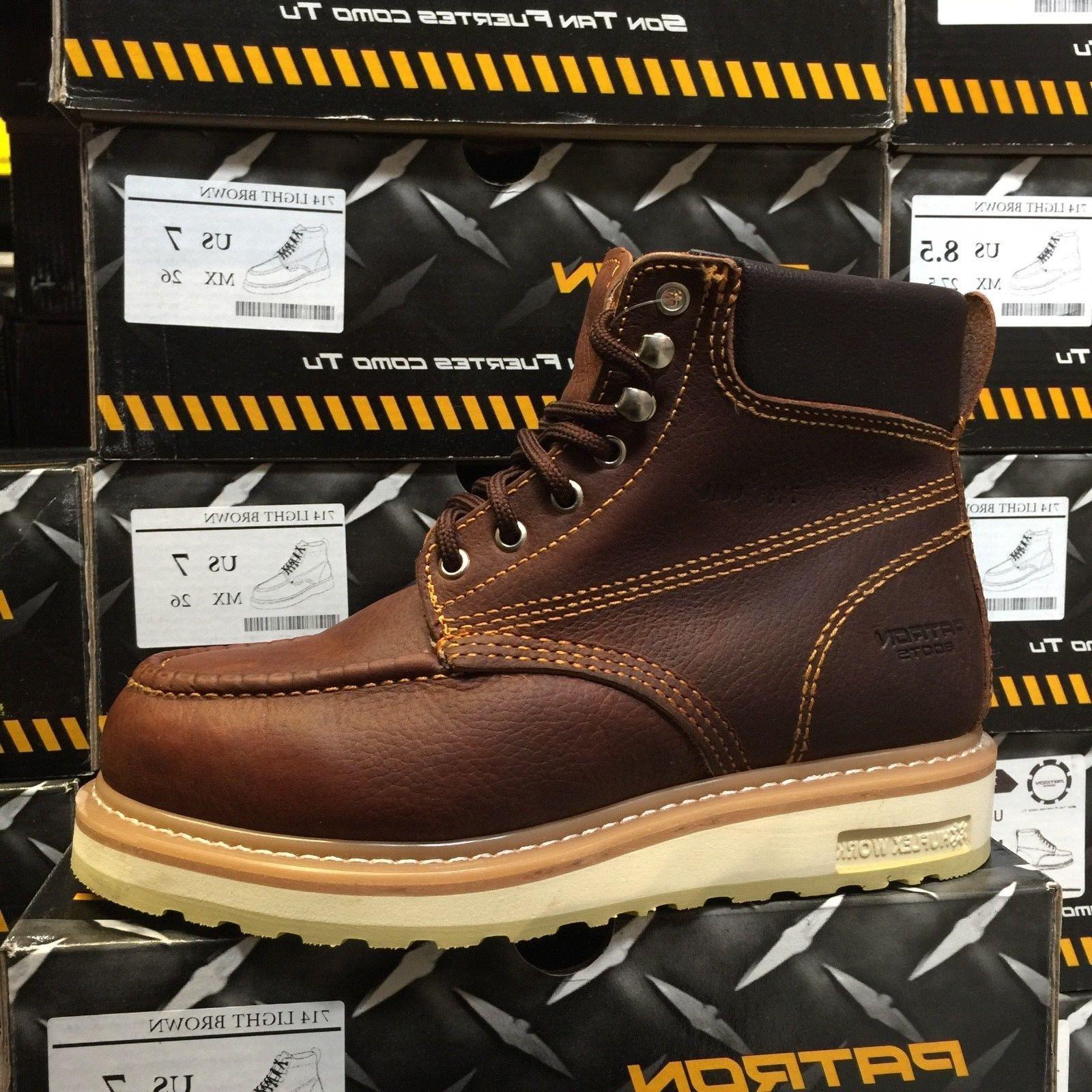 1a3edc486f8 MEN'S WORK BOOTS MOC TOE GENUINE LEATHER LACE