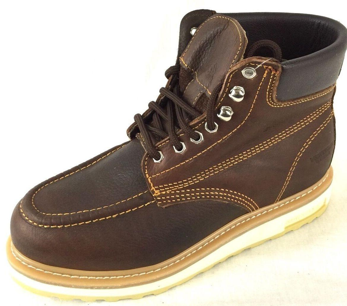 MEN'S WORK BOOTS MOC TOE LEATHER LACE UP SAFETY BROWN BOTAS