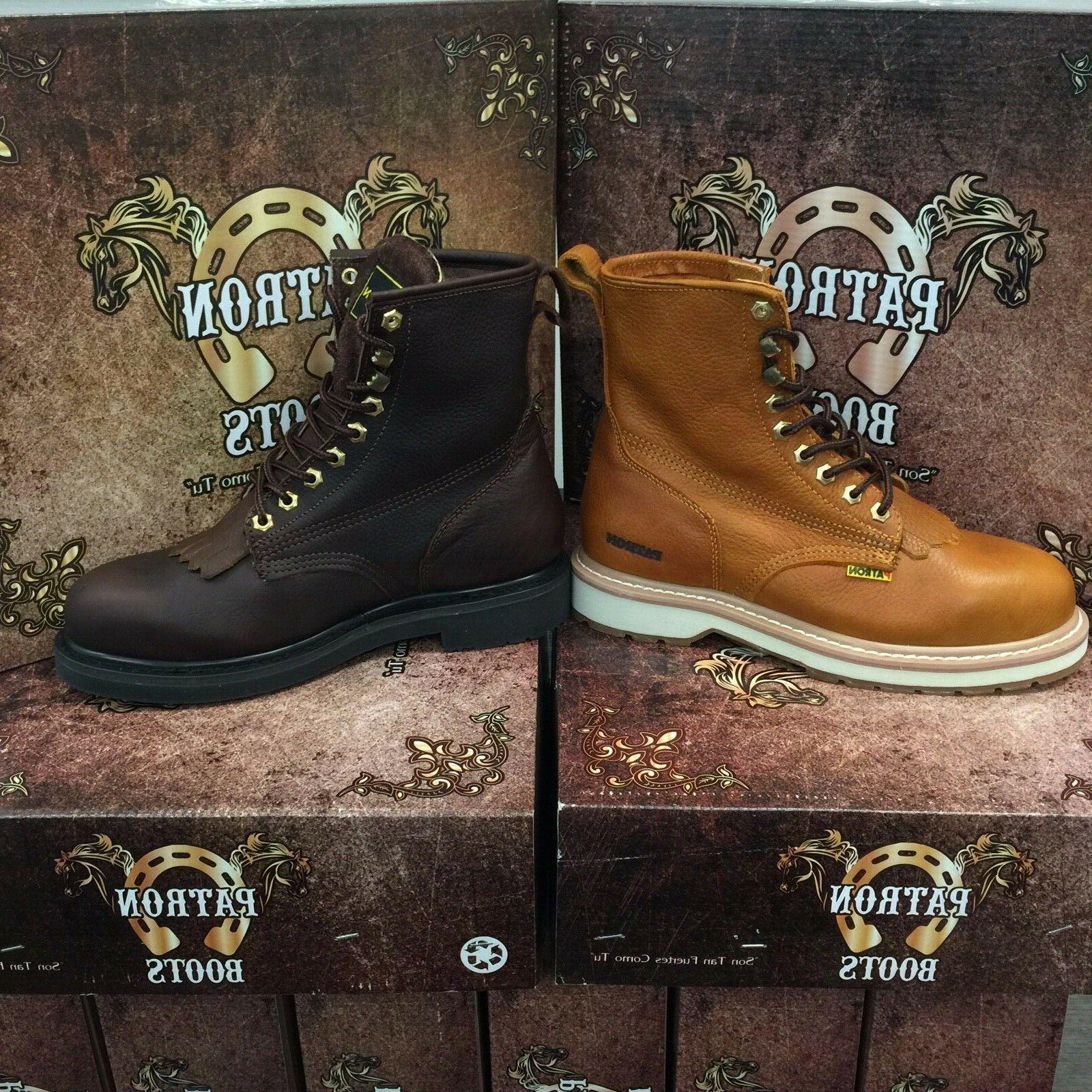 MEN'S WORK ROUND SOFT TOE GENUINE LEATHER LACER UP BOTAS