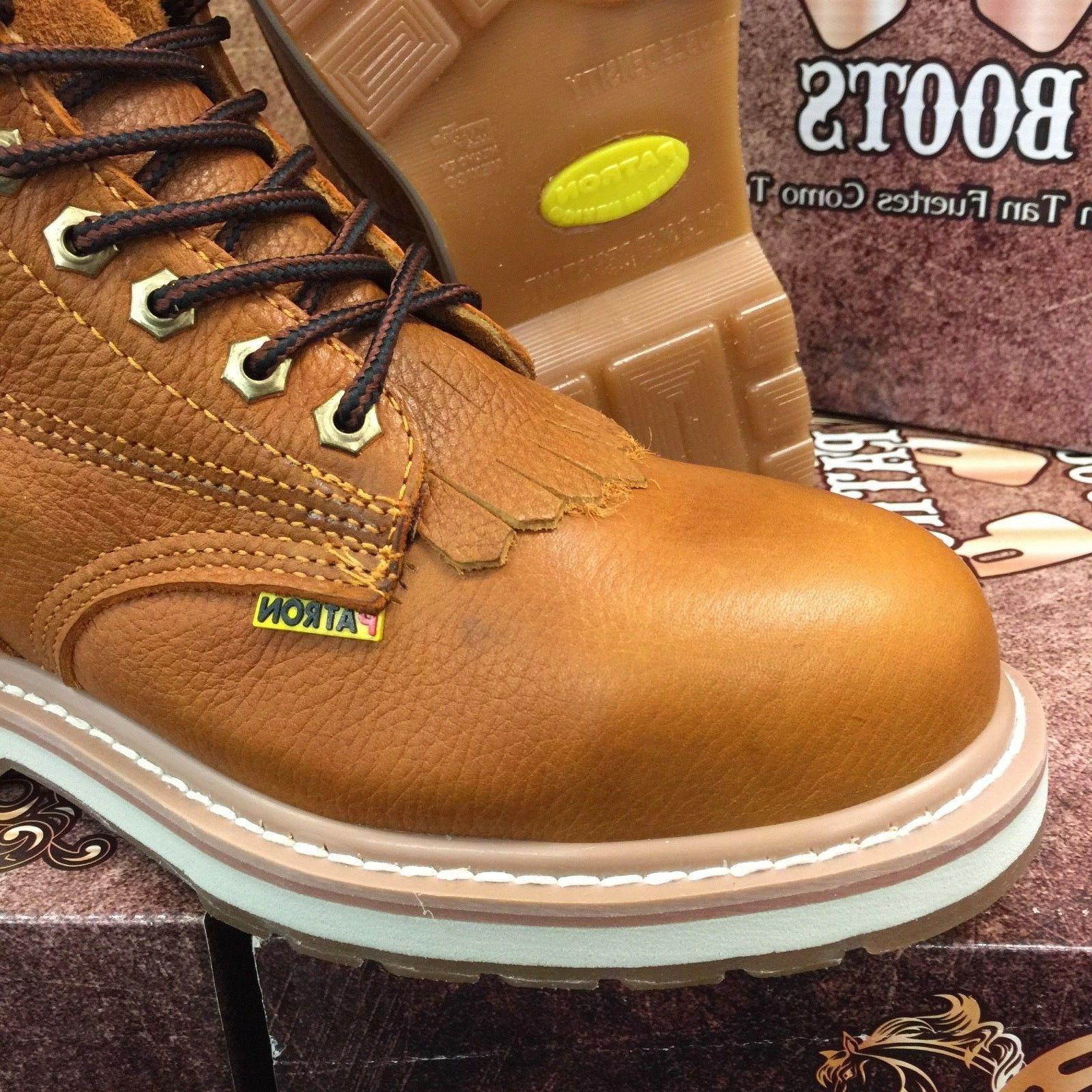MEN'S BOOTS ROUND SOFT TOE LEATHER LACER UP HONEY BOTAS