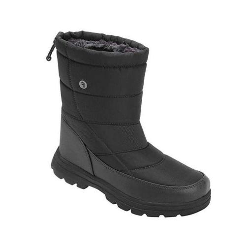 Mens Women Mid Calf Snow Boots Thicken Fur lined Ski Shoes