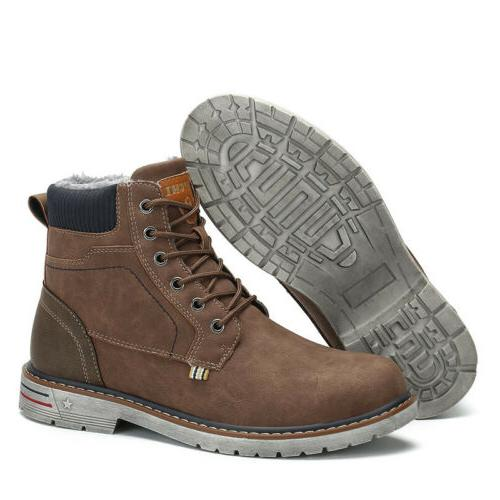 Men Anti-skid Warm Lace Up Shoes Winter Outdoor F56