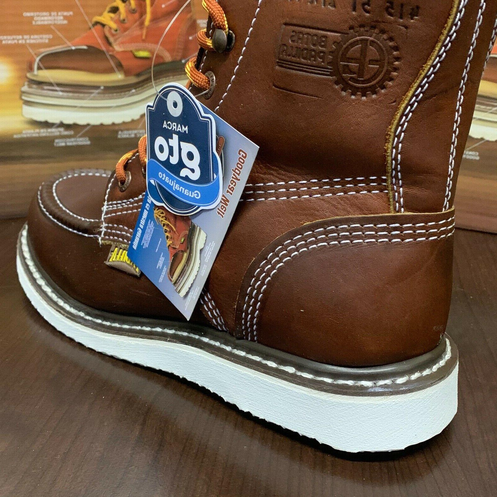 """Men's 6"""" Toe Safety Oil Slip Resistant Waterproof Leather Boots"""
