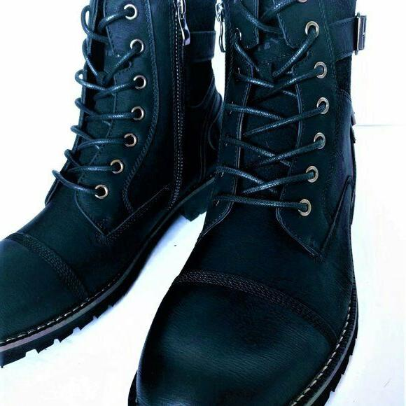 Polar Fox Mens Black Casual Lace Up Combat Boots Size 8.5