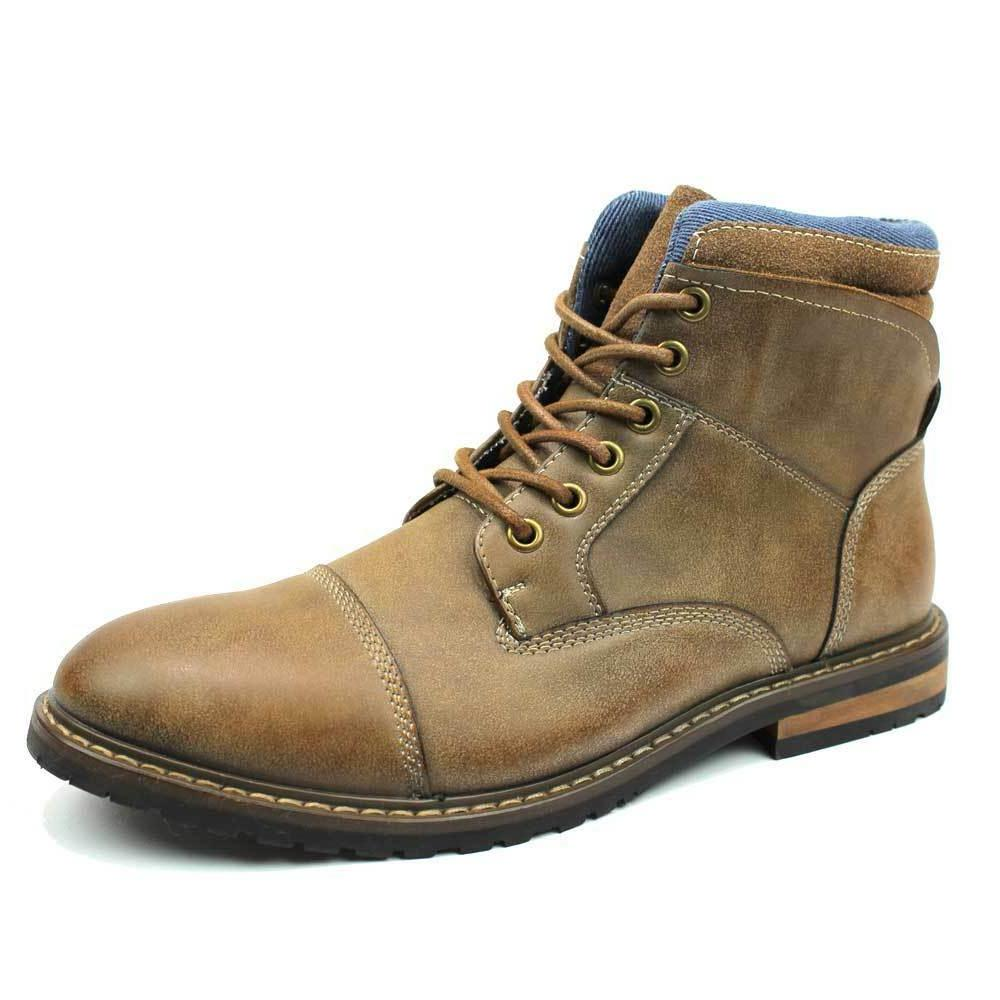 Mens Boot Tan Brown Ankle Cap Toe Derby Modern Lace Up Round