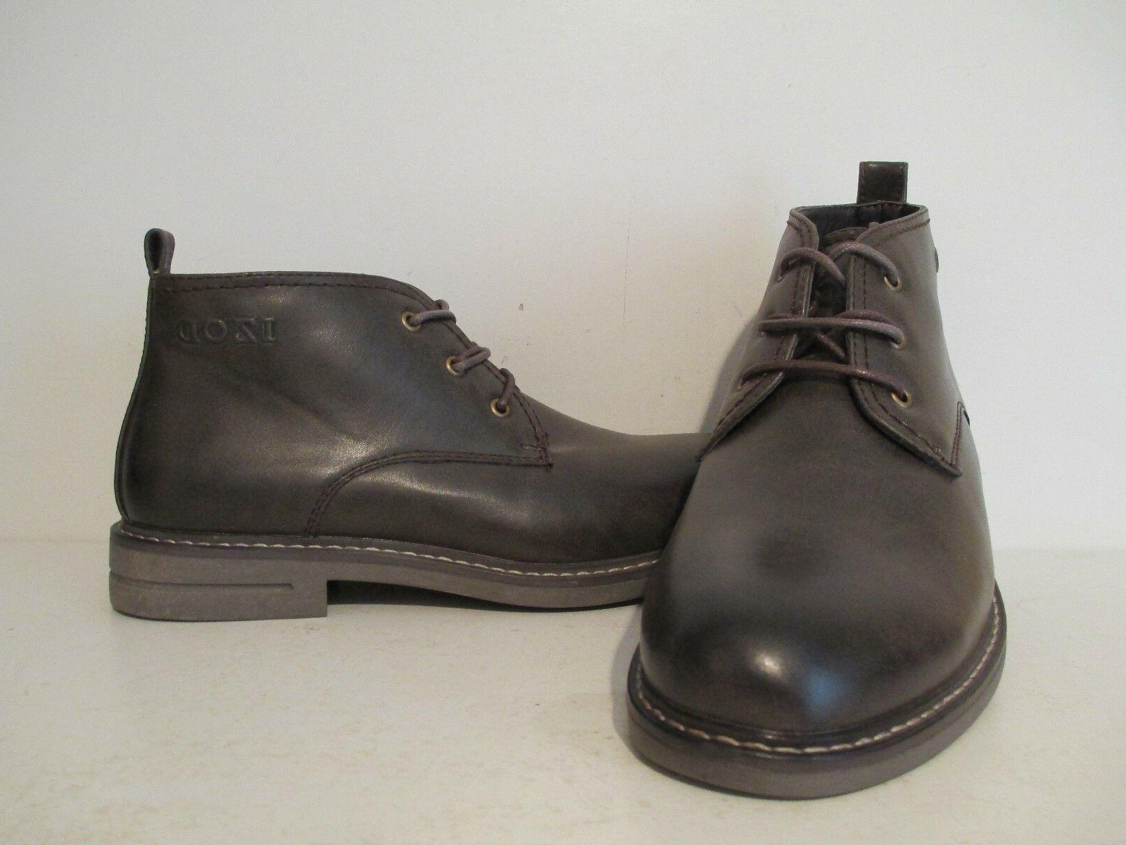 IZOD Mens Cally Casual Faux Leather Ankle Chukka Boots Dark