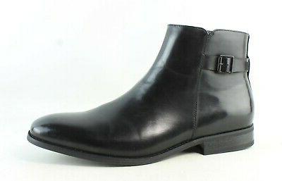 mens half back black ankle boots size