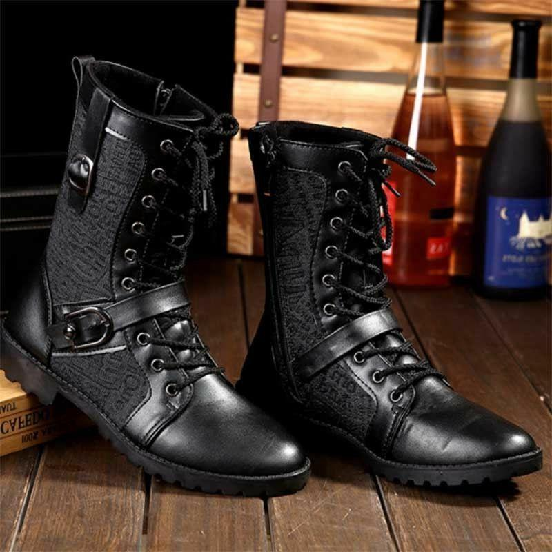 Mens Lace Up Martin Boots Leather High Top Shoes Military Mo