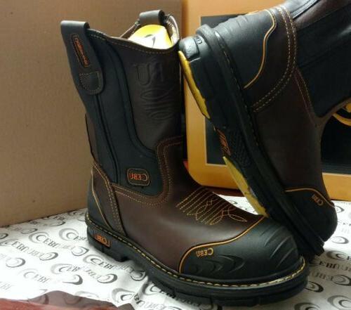 Cebu Mens Leather Steel Toe Work Boots Slip Oil Resistant Br