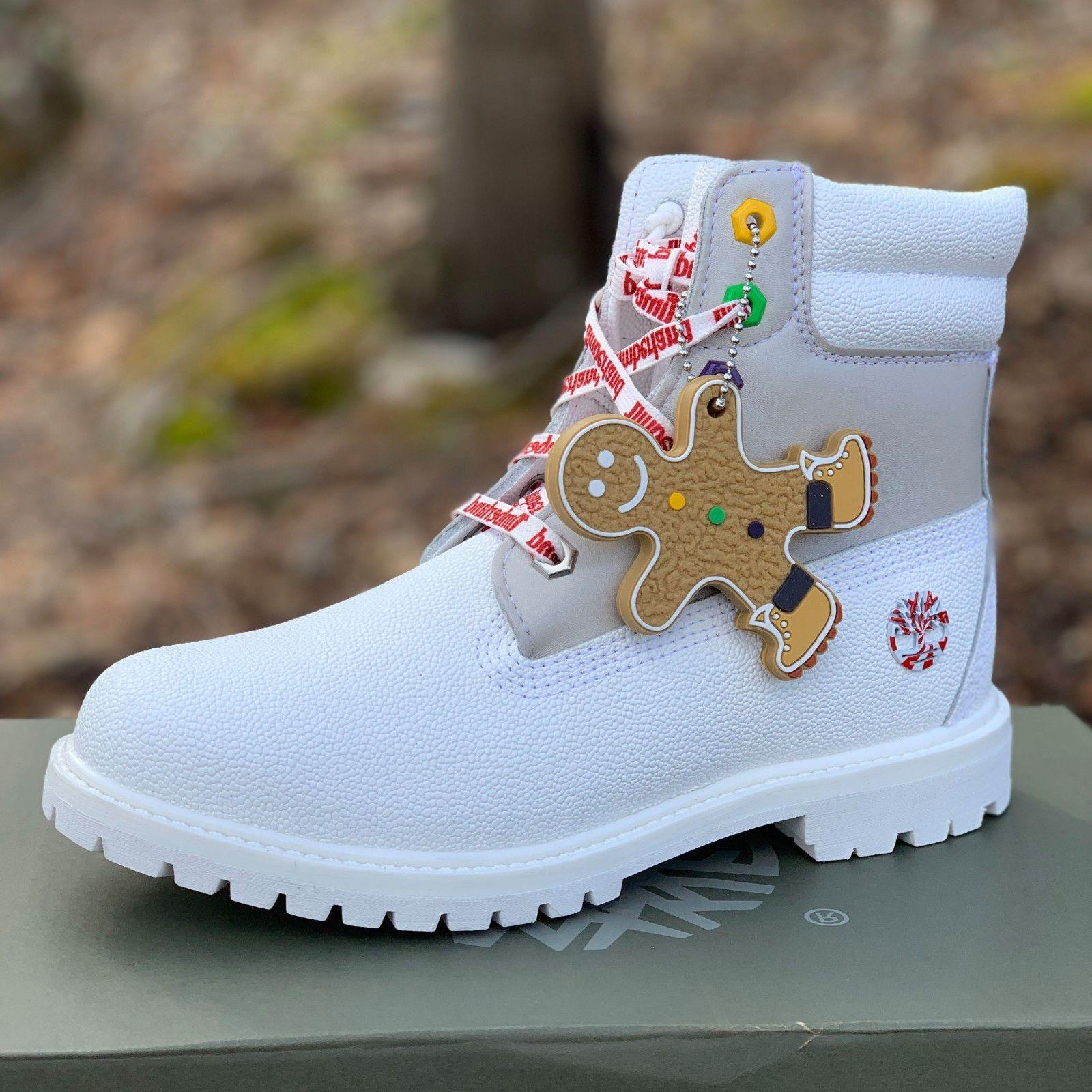 """Timberland MENS Premium 6"""" White Boots Holiday Edition A1U5Y USA"""