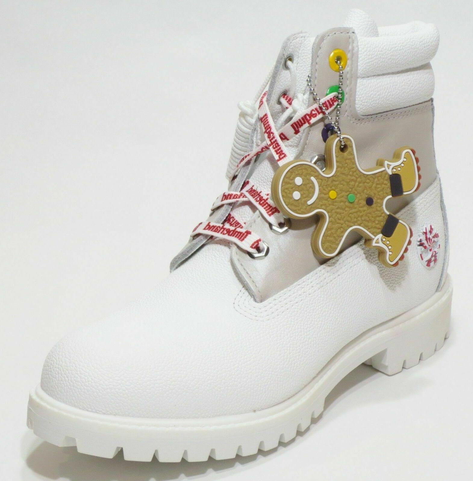 """Timberland MENS Premium 6"""" White Boots LIMITED Holiday"""