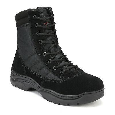 NORTIV Men's Military Tactical Boots Leather Motorcycle Combat Boots