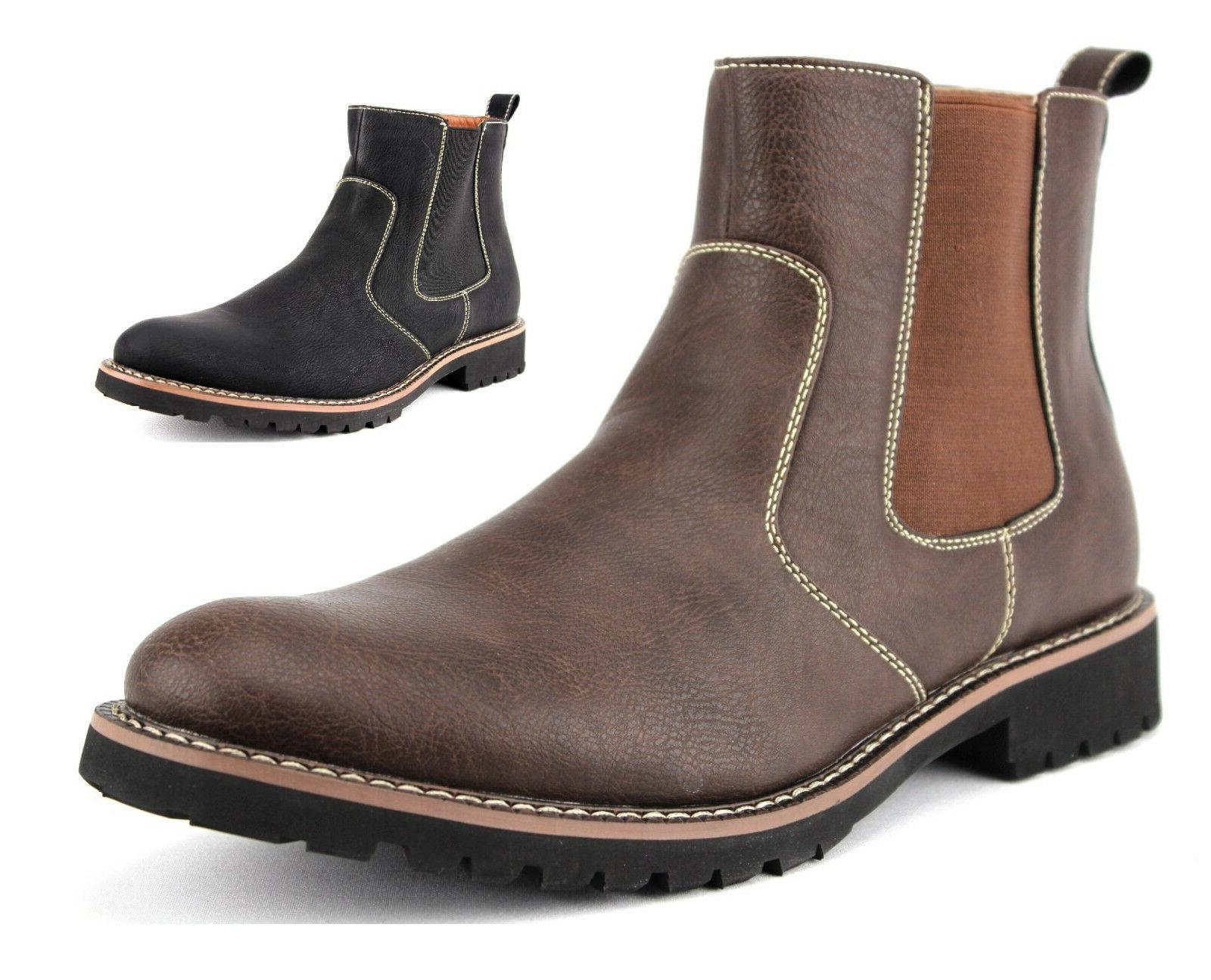 New Ferro Aldo Mens Classic Slip On Desert Ankle High Chelse