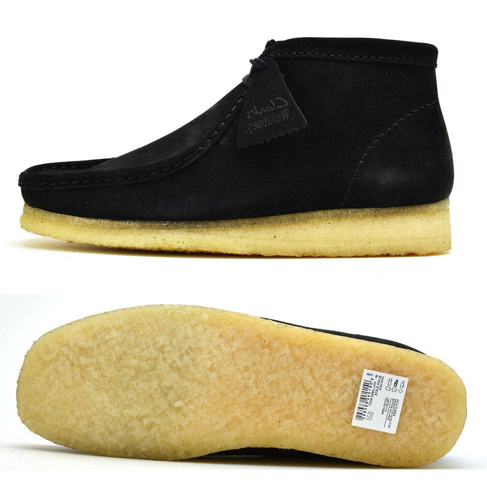 new of england wallabee boots black suede