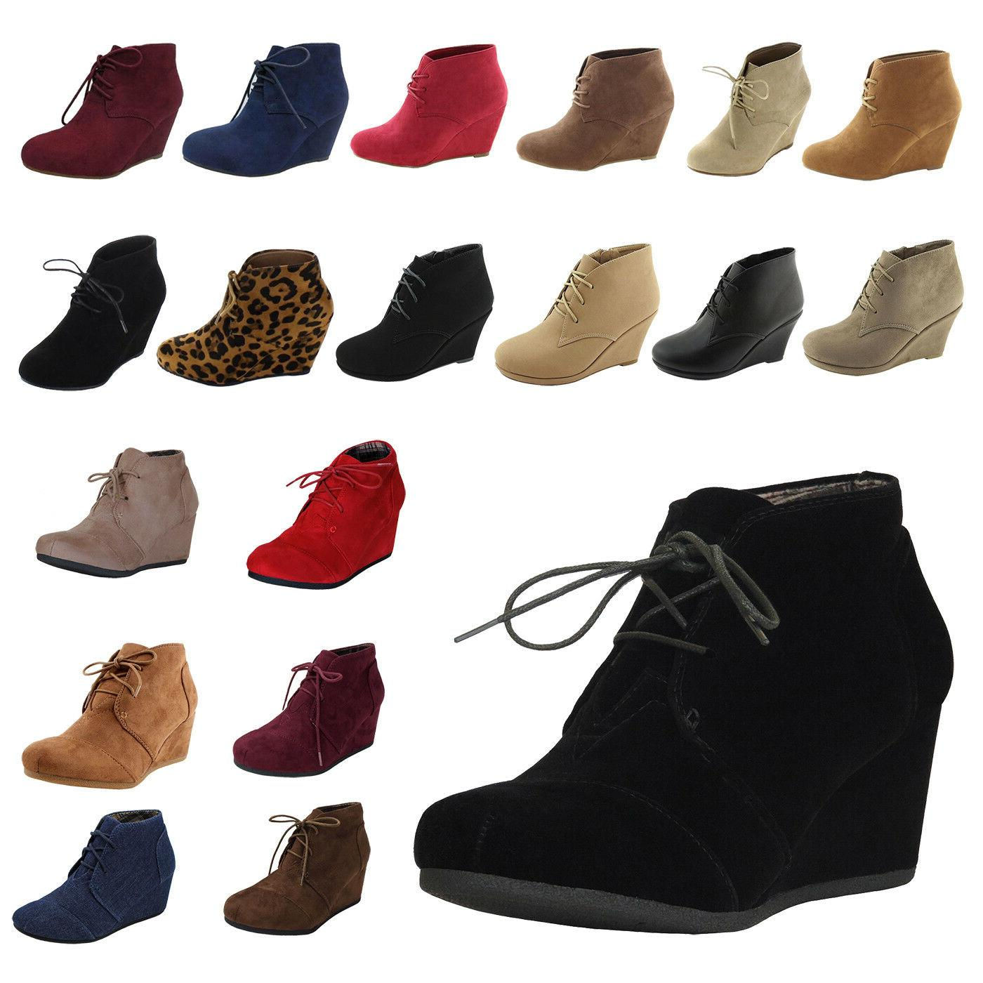 NEW Womens Wedge Booties Oxford High Heels Ankle Boots Shoes