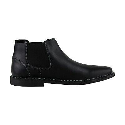 Steve P-Impass Black Slip On Chelsea Boots Shoes