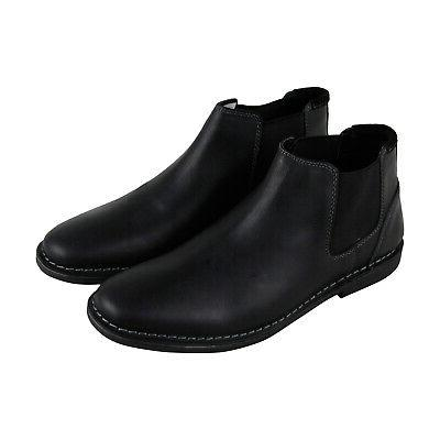 p impass mens black leather slip on