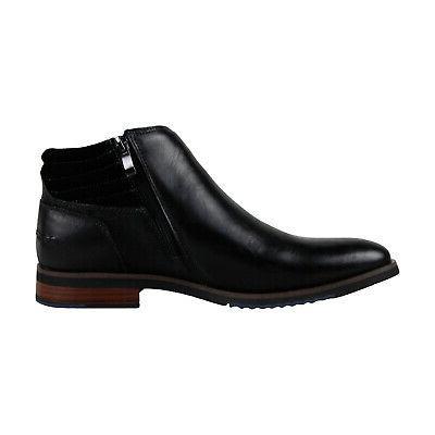 Black Leather Zipper Boots Shoes