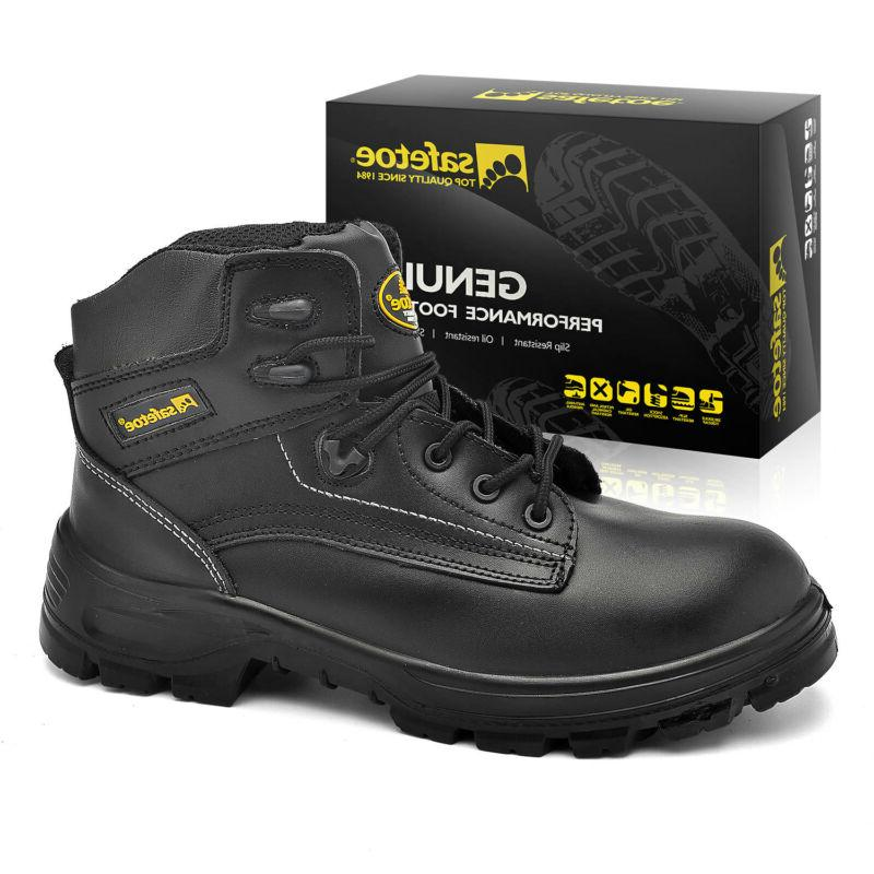 Safetoe Safety Boots Mens Black Leather Work Shoes Steel Toe