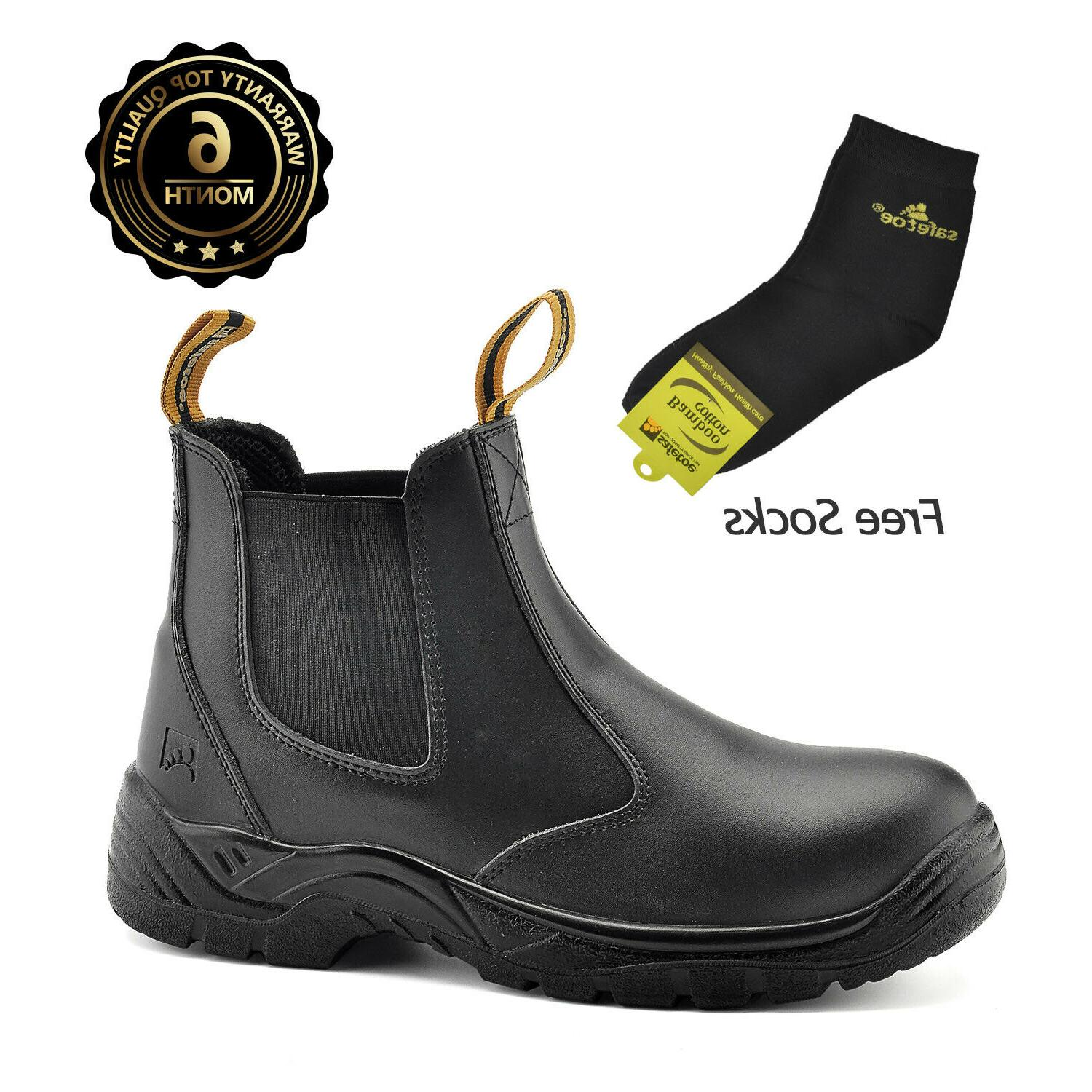 safety boots men work shoes leather steel