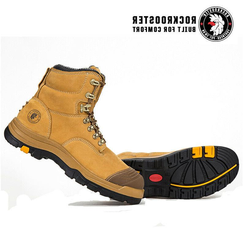 ROCKROOSTER Safety Work Mens Steel Toe Slip Resistant Lace Shoes