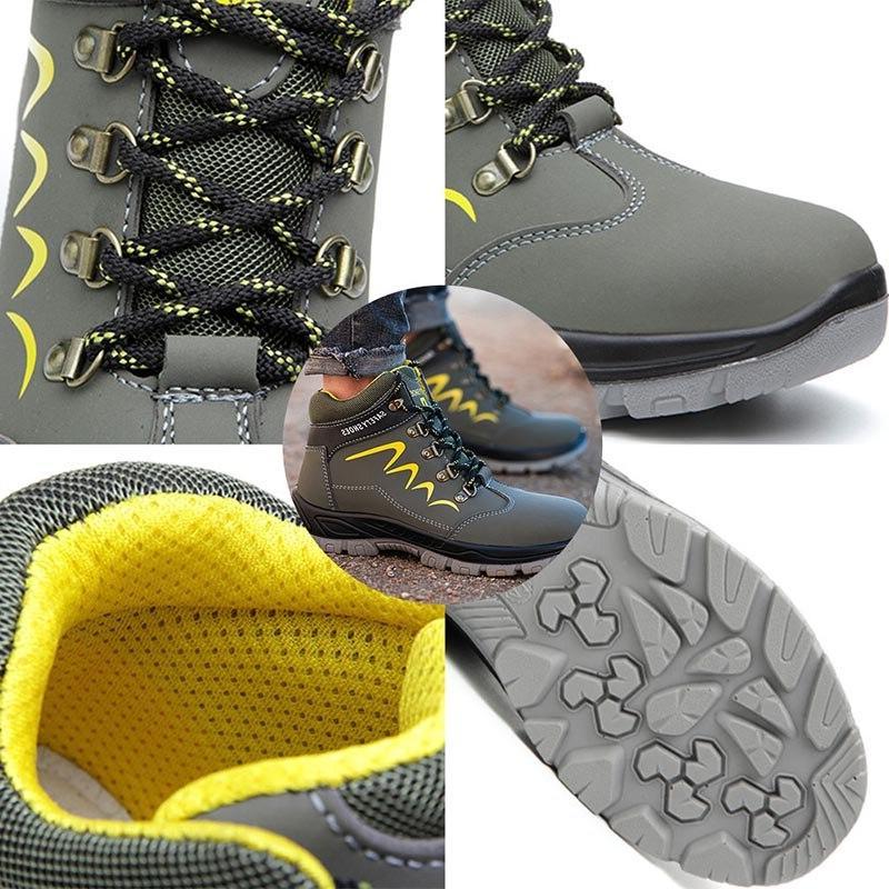 JACKSHIBO Safety For Winter Ankle Shoes Anti-smashing <font><b>Steel</b></font> <font><b>Toe</b></font> Construction