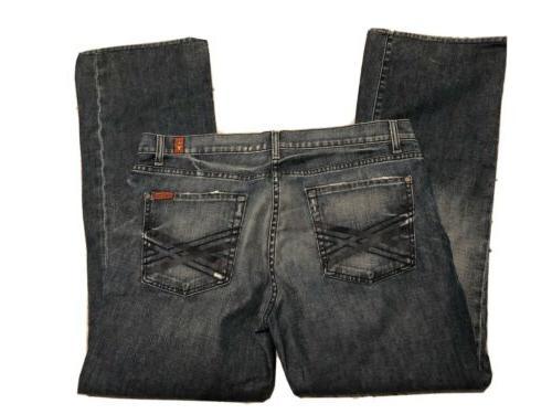 seven boot cut mens blue jeans size