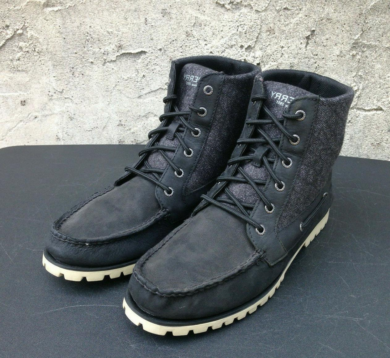 Sperry Black Leather/Canvas Up Boots Men's 10.5 ~NEW~