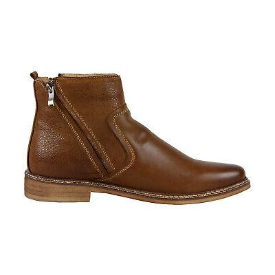 Steve Tackled Tan Leather Casual Dress Zipper Boots