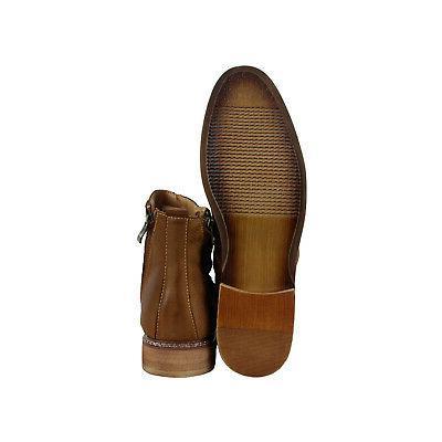 Steve Mens Tan Leather Zipper Boots Shoes