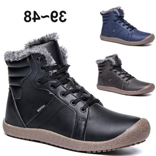 Winter Men's Leather Snow Boots Outdoor High Top Warm Work S