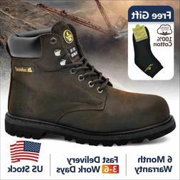 Safetoe Leather Safety Boots Mens Work Shoes Steel Toe Slip