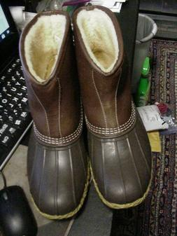 """LL BEAN 7"""" Shearling Lined Tumbled Leather Lounger Boots Buc"""