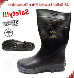 LM Men's Black Rubber Rain Boots Work Safety Boots Shoes Aci