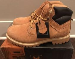"""Kingshow M1355 Men's 6"""" Padded Collar Boots Wheat Brown Sz 8"""