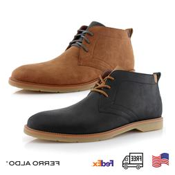 Men's Leather Chukka Fashion Lace Up Casual Mid-top Business