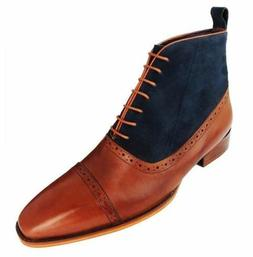 MEN NEW HANDMADE TWO TONE BOOTS TAN AND BLUE OXFORD BROGUE H