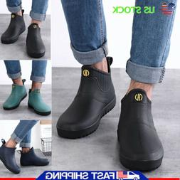 Men Non-slip Rain Boots Waterproof Low Heel Slip On Rubber S