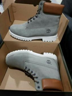 Timberland Men's 6 Inch Premium Waterproof Boots Grey/White