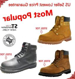 "Men's 6"" Work Boots Shoes With Steel Toe Leather Shoe Lace U"