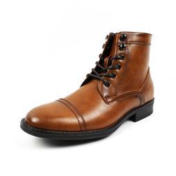 Men's Ankle Dress Boots Cap Toe Lace Up Side Zipper Leather