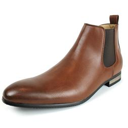 Men's Ankle Dress Boots Side Zipper Almond Round Toe Leather