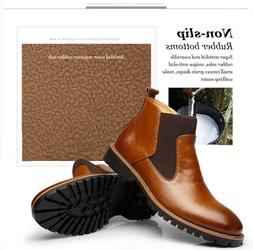 Men's Spring Ankle Martin Dress Boots Slip On Almond Round T