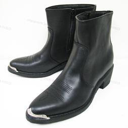 Men's Boots Cowboy Western Black Genuine Leather Side Zipper