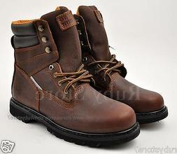 "KINGSHOW Men's Brown 8"" Work Boots Shoes Oily Leather Reflec"