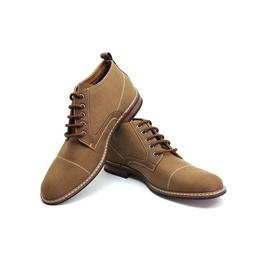 Men's Brown Ferro Aldo Ankle Boots Cap Toe Canvas Leather La